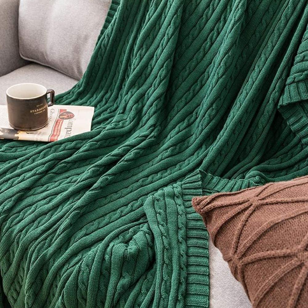 TRGCJGH Couverture Tricoter,Plaid Couverture Tricot en Chenille avec Les Pompons - Couverture De Lit Douce Et Chaude Jeté De Canapé,Khaki-180cmX200cm Lightblue-180cmx200cm