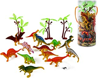 Mini Dinosaur Toy Set (35 Piece), Plastic Assorted Dinosaur Figures as Cake Toppers for Birthday Party, Toys for Boys and Girls