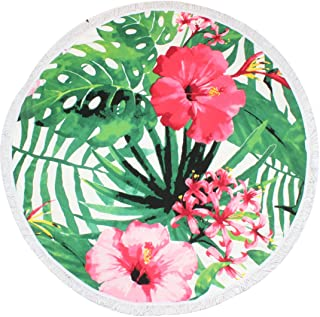 HAPEE Flower Thick Round Beach Towel, Circle Beach Blanket - Soft, Quick Dry