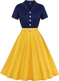 Wellwits Women's Sailor Navy Yellow Halloween Princess Vintage Shirt Dress