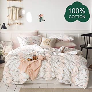 Marble Print Bedding Set for Girls Premium Cotton Teens Comforter Cover Twin with Zipper Closure Triangle Artistic Duvet Cover Twin for Women Pink Bedding Set Twin Super Soft Quilt Cover, No Comforter