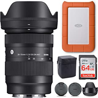 Sigma 28-70mm f/2.8 DG DN Contemporary Lens for Sony E With LaCie Rugged Mini 1TB External Hard Drive & 64GB SD Card (3 It...