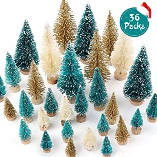 FUNARTY 36pcs Mini Sisal Trees Artificial Mini Christmas Trees Bottle Brush Trees Mixed Color for Xmas Holiday Home Party Diorama Models