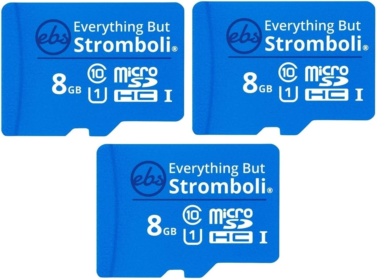 Everything But Stromboli 8GB Micro SD Memory Card w/Adapter (Bulk 3 Pack) Class 10, U1, UHS-1, TF MicroSDHC Card for Compatible Dash Cam, Phone, Action Cameras, Security Cam, Switch, Digital Camera