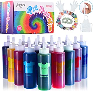 Joyjoz Tie Dye Kit for Kids and Adults, 18 Colors Fabric Dye Set with 36 Bags Pigments, Rubber Bands, Gloves, Apron, Table...
