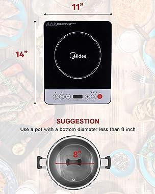 MIDEA Cookware 1500WSensorTouchElectricCountertopBurner4D InductionCooktopStainlessSteelPot, 11142.3, Black