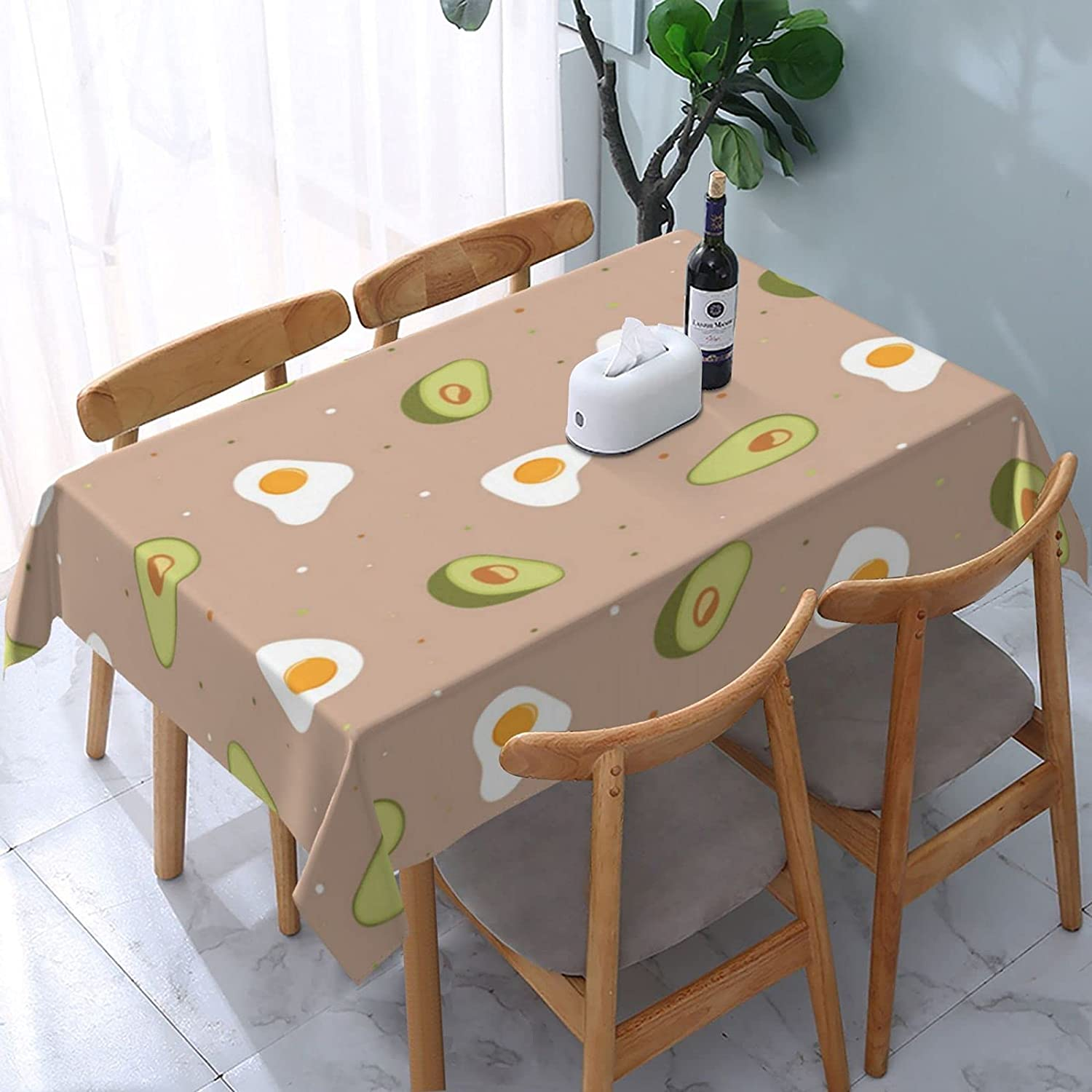 Egg Avocado Classic Rectangle Tablecloth Washable Bargain Cover Table with Dust-