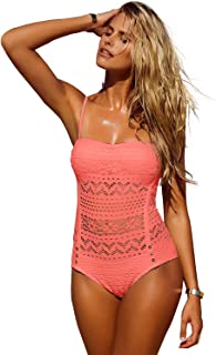 48c4ba78f29c0 LookbookStore Women s Crochet Lace Halter Straps Swimsuits Bathing Suit US  ...