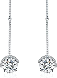 Platinum-Plated Drop Earrings Made with Swarovski Crystals (9 cttw)