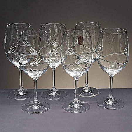 la galaica | Caja 6 Copas de Cristal para Vino o Agua - talladas a Mano - Colección CRISTALLIN | Resistentes, Modernos Regalos Ideales Bodas de Plata y Oro | 25 y 50 Aniversario: Amazon.es: Hogar