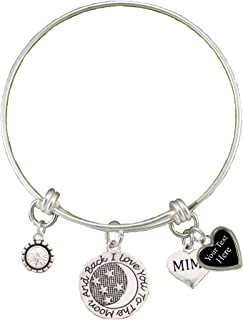 Mimi Love You To The Moon Silver Wire Bracelet Jewelry Choose Your Text