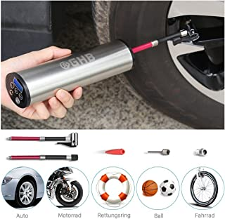 GHB Mini Auto Luftpumpe Elektrischer Luftverdichter für Fahrrad Ball Ballon 150 PSI Portabel Aufladbar mit LCD Display (Verpackung MEHRWEG)