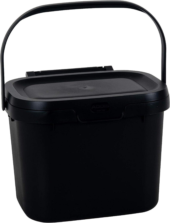 Addis Eco 100% plástico Uso Diario de la Cocina, Cubo de Basura, 4,5 litros, Color, Reciclado Negro, Compost Caddy