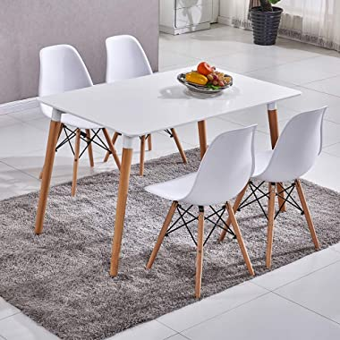 HomeSailing White Wood Dining Table and 4 Chairs Set 5 Pieces Kitchen White Wooden Dining Table and 4 Retro Eiffel Plastic Ch