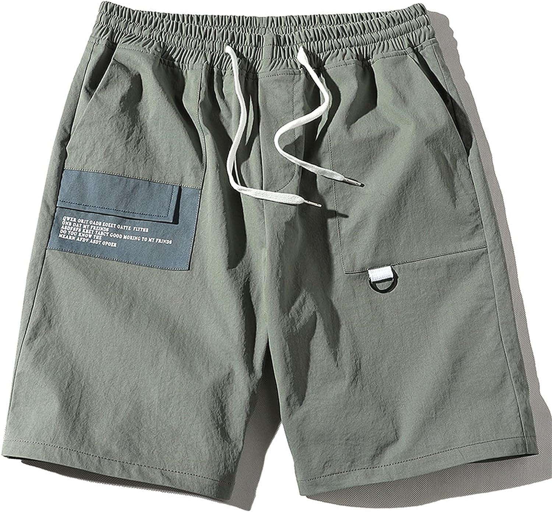 Men's Linen Shorts Cotton Polyester Fiber Casual Drawstring Summer Beach Cotton Cargo Long Inseam XL