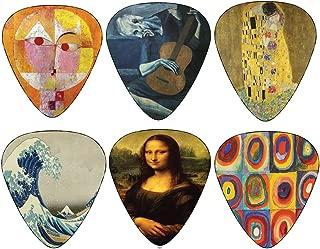 Creanoso Famous Guitar Picks (12-Pack)- Guitar Accessories for Acoustic, Electric and Bass Guitars - Picasso, Gustav Klimt, Katsushika Hokusai, Paul Klee, Vassily Kandinsky, Leonardo da Vinci Painting