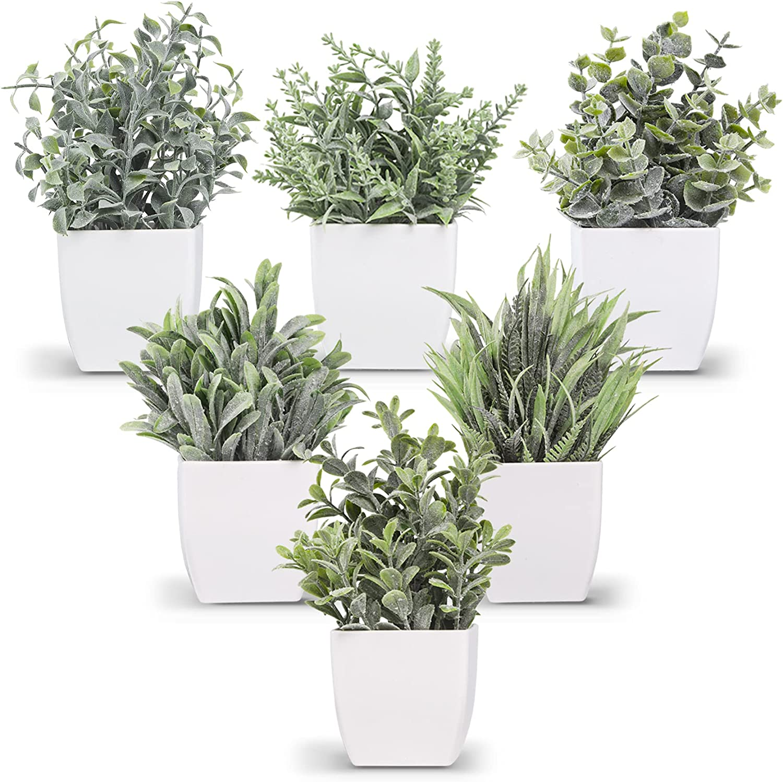 Der Rose 6 Packs Fake Plants Small Artificial Plants for Modern Farmhouse Decor