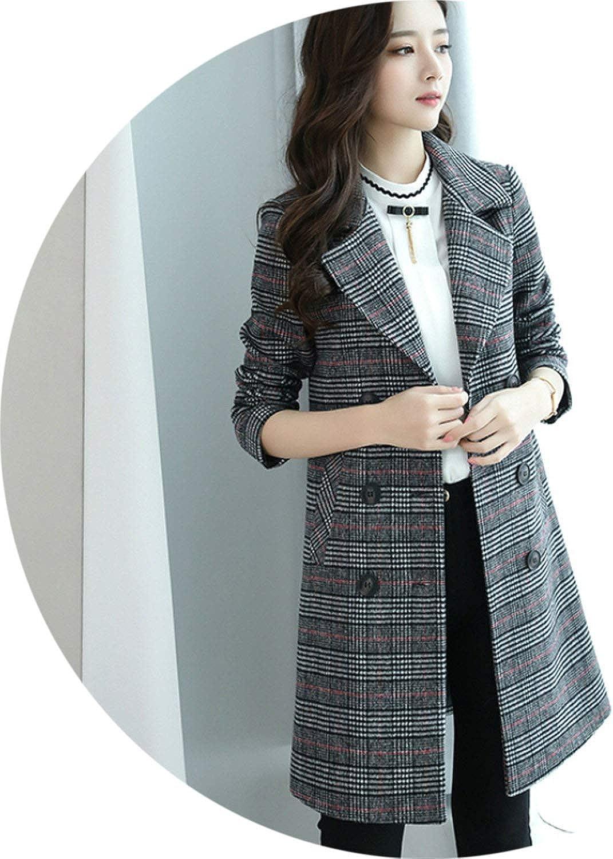 2018 New fashiong Women Autumn Winter Long Plaid Woolen Coat