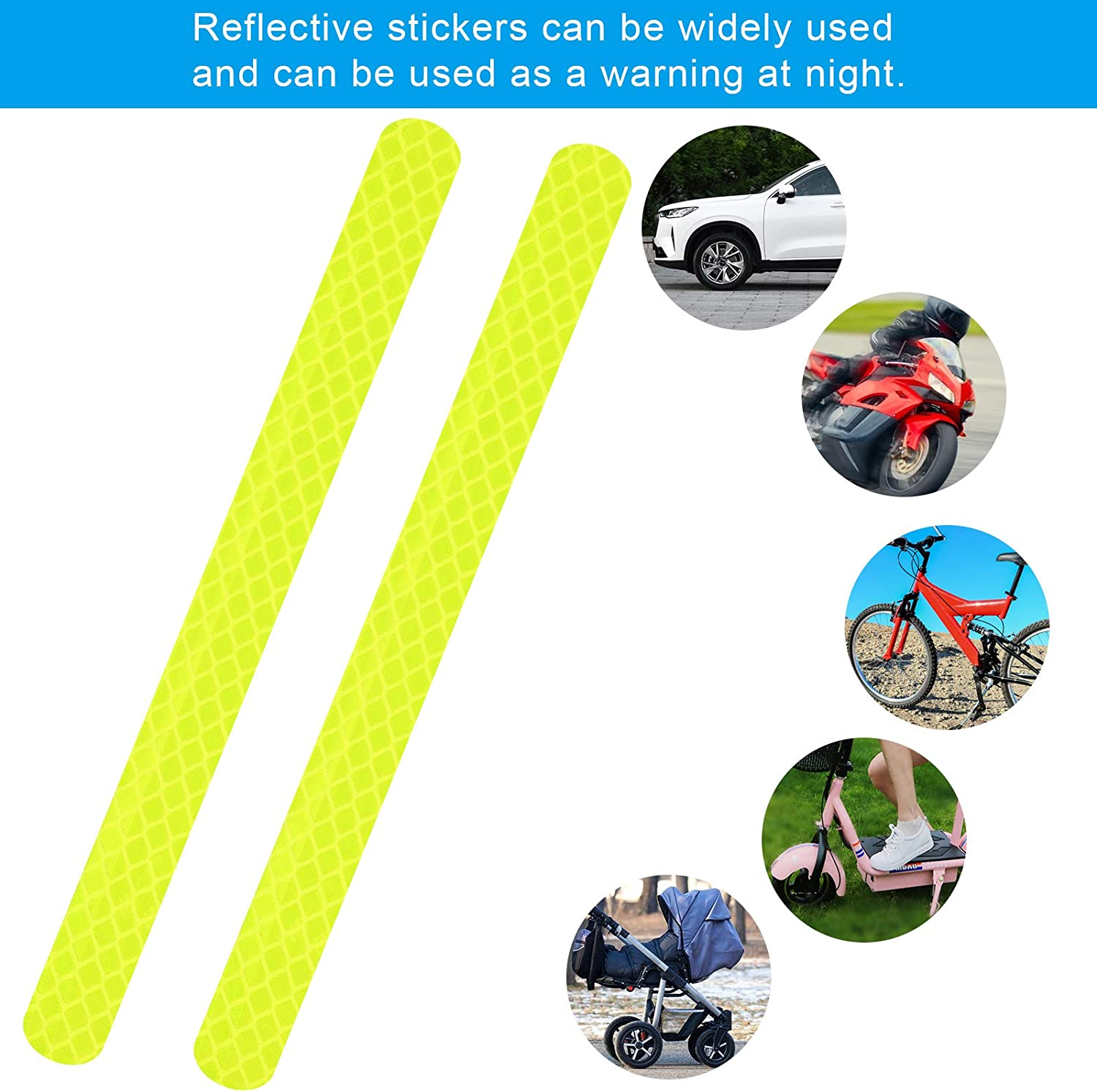 Red WEAVERBIRD 2pcs Rearview Mirror Sticker Automotive Reflective Stickers Mirror Protection Car Rear View Mirror Stickers Night Light Warning Strip