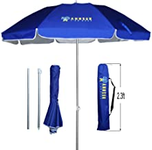 AMMSUN 6.5ft Two Folded Patio Beach Umbrella for Sun and Outdoor,with Metal tilt Portable Cabana Silver Coating Inside with 99% UV Protection