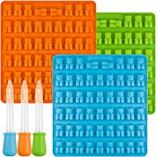 [New] Bear Candy Silicone Molds Ice Cube Trays with 3 Droppers, SENHAI 3 Pack Gumdrop Molds for Jelly Chocolate Soap Cake ...