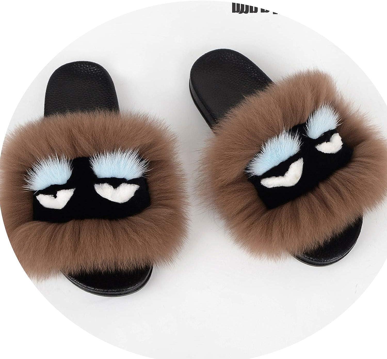 This is not a harm.-Slipper Women F-ox F-ur Slides Sandals