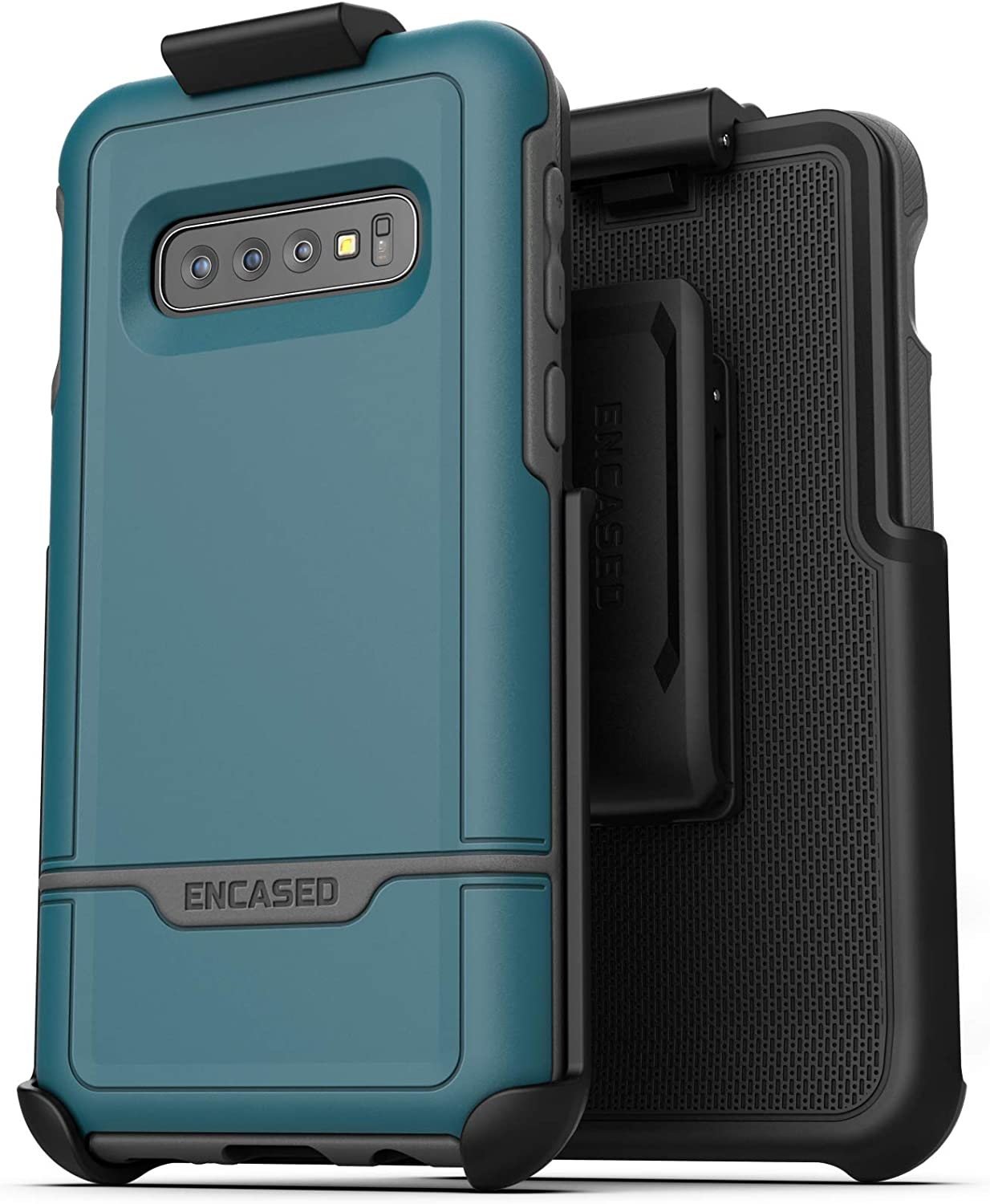 Encased Rebel Armor Belt Case for Samsung Galaxy S10 | Dual-Layer Military Grade Phone Cover | Heavy Duty Holster Clip (2019 Release) - Hawaiian Blue