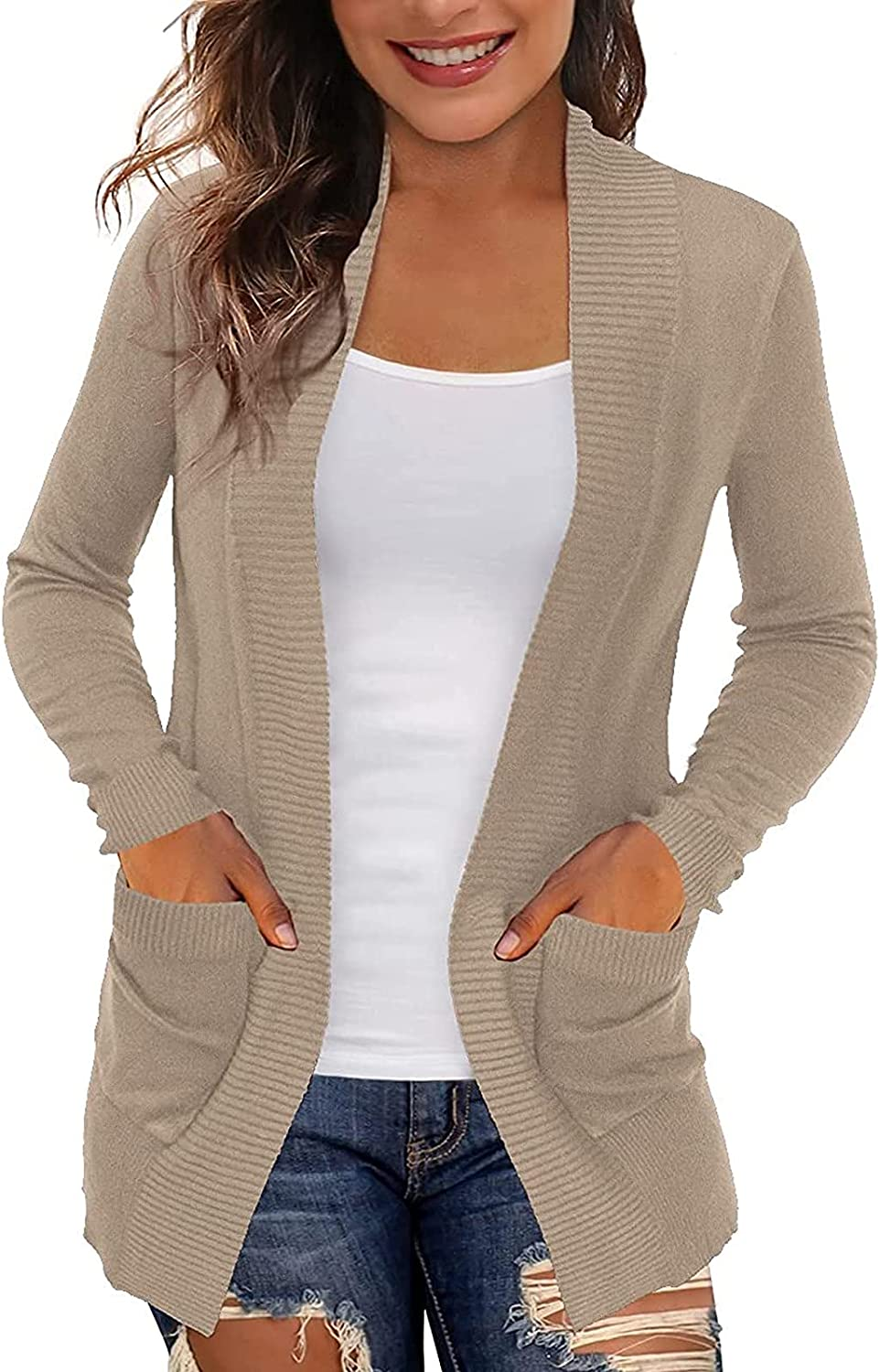 Women's Cardigans With Pockets Casual Lightweight Open Front Cardigan Sweaters