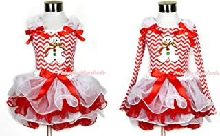 Xmas White Red Petal Skirt Red White Wave Stripe Ginger Snowman Tank Top NB-8Y