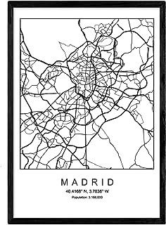 Lámina Mapa de la Ciudad Madrid Estilo nordico en Blanco y Negro. Poster tamaño A3 Sin Marco Impreso Papel 250 gr. Cuadros, láminas y Posters para Salon y Dormitorio