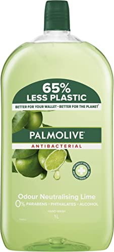 Palmolive Antibacterial Liquid Hand Wash Soap 1L, Odour Neutralising Lime Refill and Save, No Parabens Phthalates and...