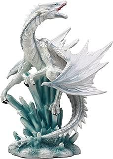 Ebros White Arctic Snow Winter Dragon On Giant Crystal Ice Rocks Statue Winterland Dragon Fantasy Decorative Figurine