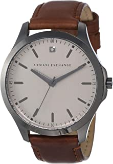 Armani Exchange Gunmetal Stainless Steel & Leather Watch AX2195
