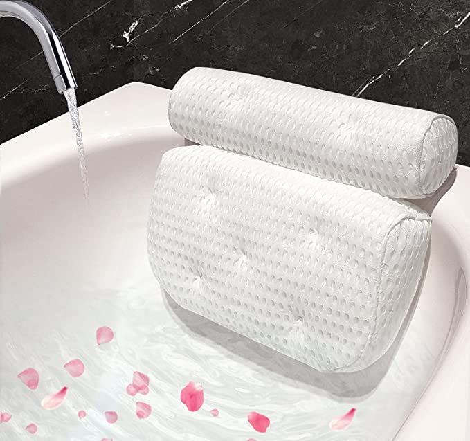 Bath Pillow for Bathtub, Ergonomic Bathtub Spa Pillow with Upgraded 4D Air Mesh Technology and 7 Non-Slip Strong Suction Cups, Helps Support Head, Back, Shoulder and Neck, Fits All Bathtub, Hot Tub