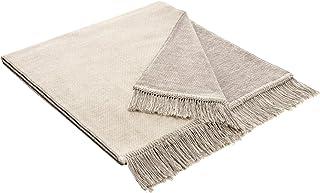 Bocasa Biederlack katoenen hoes deken gooien, 50x200 cm natuur, zout & peper beige