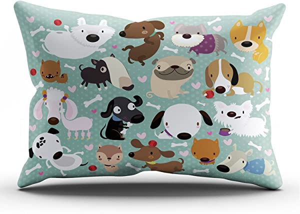 Hoooottle Custom Luxury Funny Colorful Cartoon Dog Pet Puppy Collection King Pillowcase Rectangle Zippered One Side Printed 20x36 Inches Throw Pillow Case Cushion Cover