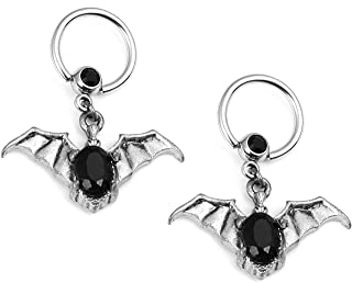 1 Pair 14G Steel Dangling Nipple/Belly Ring Body Jewelry-Bat,Vampire With Stone