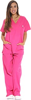 Just Love Women's Scrub Sets Six Pocket Medical Scrubs (V-Neck With Cargo Pant), Fuchsia, Medium