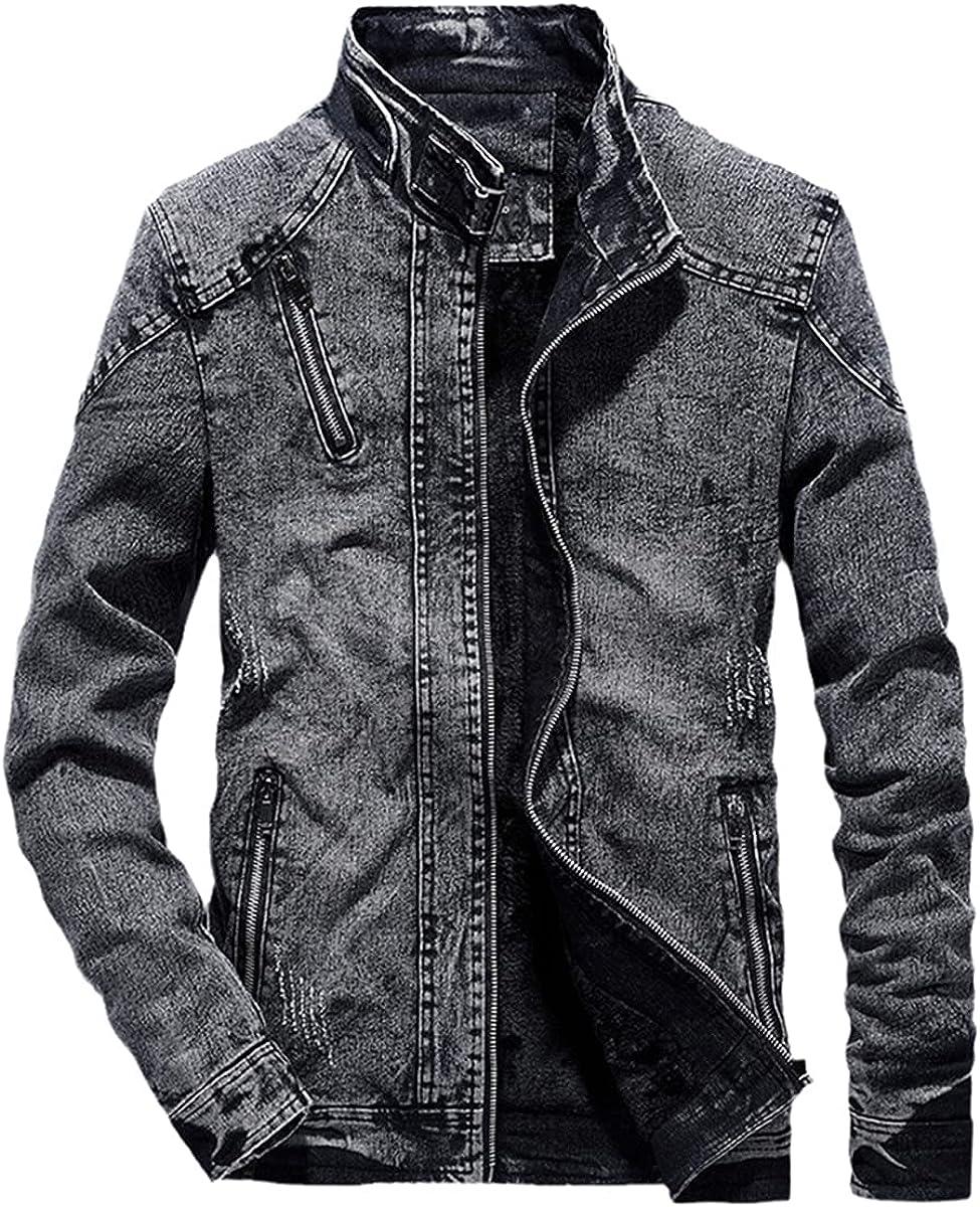 Retro Denim Jacket Men's Slim Solid Color Casual Jeans Jacket Fashion Vertical