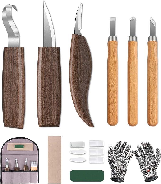 22 opinioni per 10pcs Kit Intaglio Legno, Scalpelli per Legno Professionali Sgorbie Legno con 3