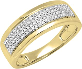 Dazzlingrock Collection 0.40 Carat (ctw) 10K Gold Round White Diamond Men's Flashy Pinky Wedding Ring