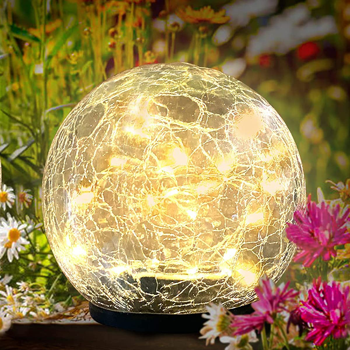 OHINGLT Solar Garden Lights Outdoor Cracked Glass Ball Waterproof Wireless Warm White LED Lamp for Garden Decor Pool Yard Art Pathway Patio Walkway Lawn Ornaments 1 Globe(3.94