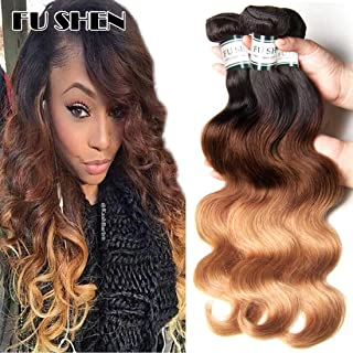 FU SHEN Ombre Brazilian Body Wave Bundles Weave Short 10 Inch 50G T1B/4/27 Black to Brown to Blonde Ombre Human Hair 5 Bundles Full Head