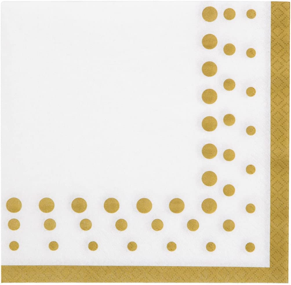 Creative Converting Sparkle and Shine Gold Paper Lunch Luncheon Napkins, 6.5
