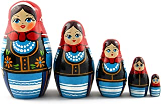 Matryoshka Matrioska Babuska Russian Nesting Wooden Doll Polish National Costume 5 Pcs Stacking Hand Painting Beautiful Nested Great Craft Matriosjka Matrioska Matreshka Matrjoska Matroeska