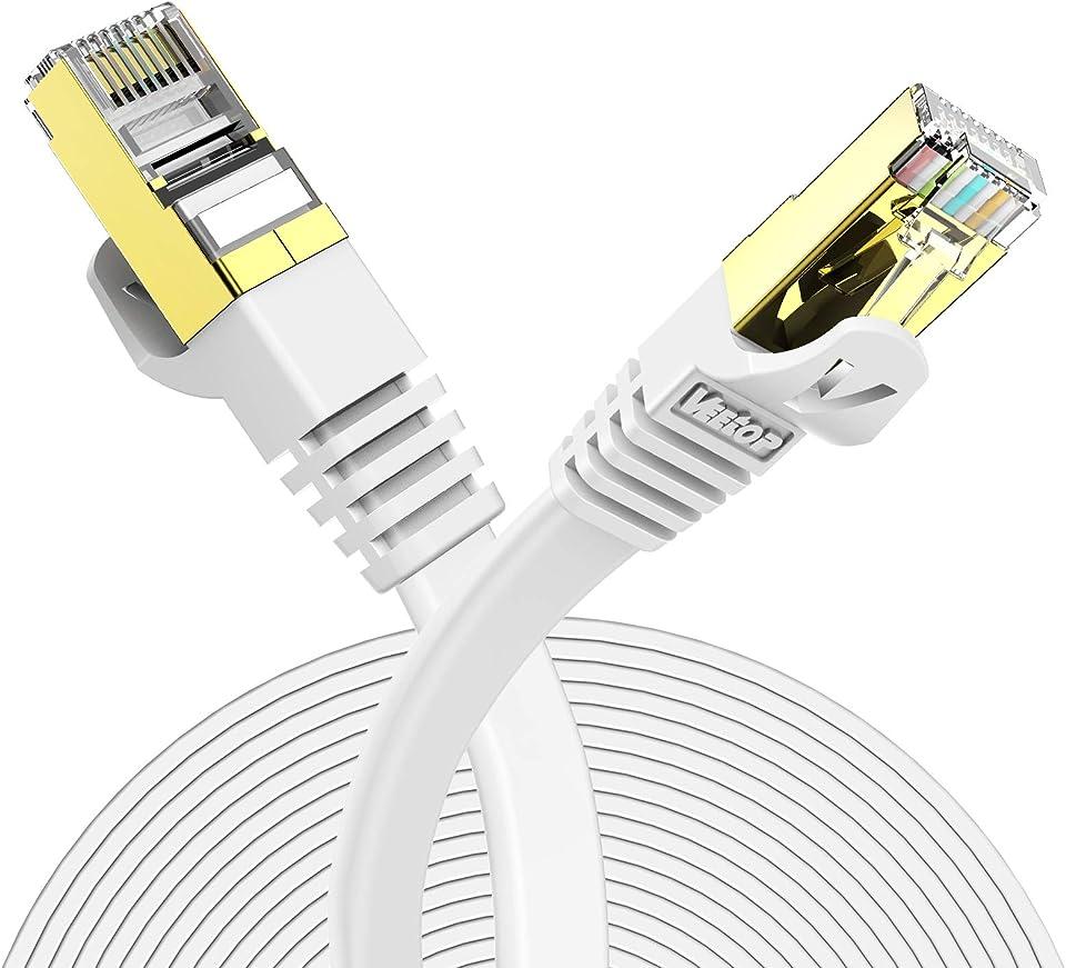 Veetop LAN Kabel Cat 7 Netzwerkkabel Flach für 10 Gigabit Ethernet mit vergoldetem RJ45. 0,5m Weiß