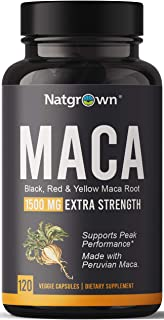 Organic Maca Root Powder Capsules 1500 mg with Black + Red + Yellow Peruvian Maca Root Extract Supplement for Men and Wome...