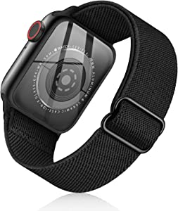 SOTRADE Stretchy Nylon Solo Loop Bands Compatible with Apple Watch 42mm 44mm 45mm 38mm 40mm 41mm Adjustable Braided Sport Elastics Men Women Straps iWatch Series 7 6 5 4 3 2 1 SE (42/44/45mm, Black)