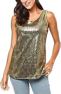 216cb7459dd KENANCY Women s Sleeveless Sparkle Shimmer Camisole Vest Sequin Tank Tops