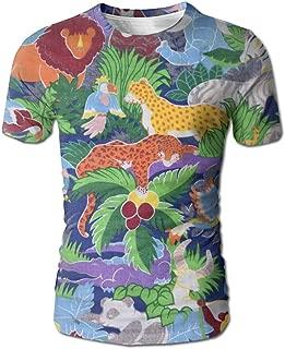 Animated Safari Animals Background Mens Round NeckShort Sleeve Casual T-Shirt